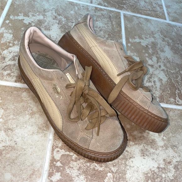 Puma Shoes | Tan Puma Suede Platform